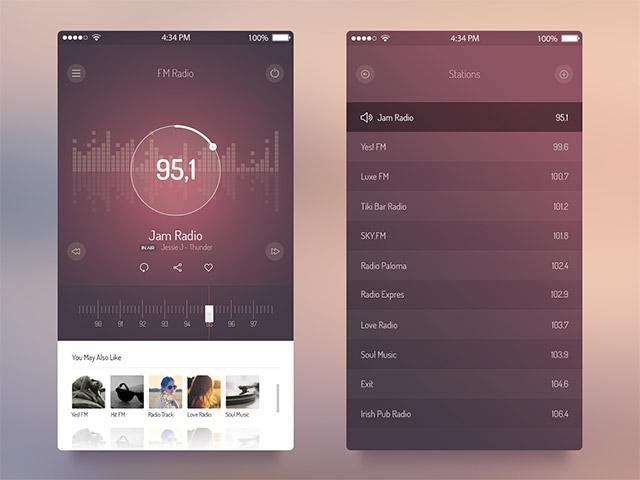 FM Radio UI – iOS 7 App